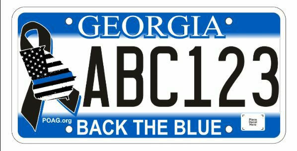 Back The Blue License Plate Peace Officers Association Of Ga